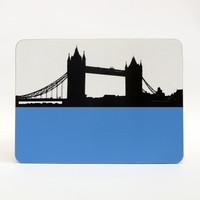 Tower Bridge London melamine coaster by Jacky Al-Samarraie