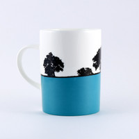 Teal landscape bone china mug, Cheltenham, The Art Rooms