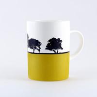Mustard landscape bone china mug, Newcastle. The Art Rooms