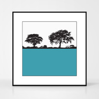 Landscape print of Anglesey, Wales by designer Jacky Al-Samarraie.  The print colour is teal blue.  The print comes mounted but is shown in a frame for reference.
