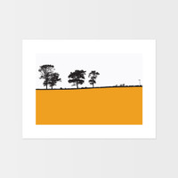 Landscape print of Ilkley, West Yorkshire by designer Jacky Al-Samarraie.  The print is mounted but unframed.  Print colour is orange.