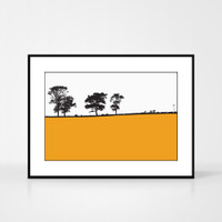 Landscape print of Ilkley, West Yorkshire by designer Jacky Al-Samarraie.  The print colour is orange.  The print comes mounted but is shown in a frame for reference.