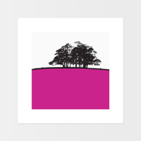 Landscape print of Trough of Bowland, Lancashire by designer Jacky Al-Samarraie.  The print is mounted but unframed.  Print colour is pink.