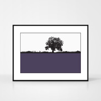 Landscape print of Kilburn, North Yorkshire by designer Jacky Al-Samarraie.  The print colour is purple.  The print comes mounted but is shown in a frame for reference.