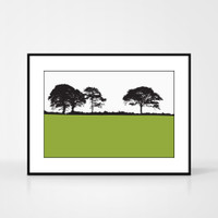 Landscape print of Kiltealy, County Wexford by designer Jacky Al-Samarraie.  The print colour is green.  The print comes mounted but is shown in a frame for reference.