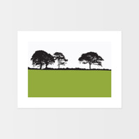 Landscape print of Kiltealy, County Wexford by designer Jacky Al-Samarraie.  The print is mounted but unframed.  Print colour is green.
