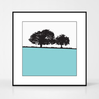 Landscape print of Old Sodbury, Gloucestershire by designer Jacky Al-Samarraie.  The print colour is turquoise.  The print comes mounted but is shown in a frame for reference.