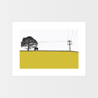 Landscape print of Yeadon, Yorkshire by designer Jacky Al-Samarraie.  The print is mounted but unframed.  Print colour is mustard.