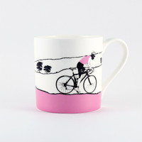Jacky Al-Samarraie Female Cyclist Pink Jersey Bone China Mug
