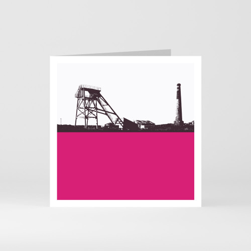 Jacky Al-Samarraie Cornwall Greeting Card of a Tin Mine in West Cornwall