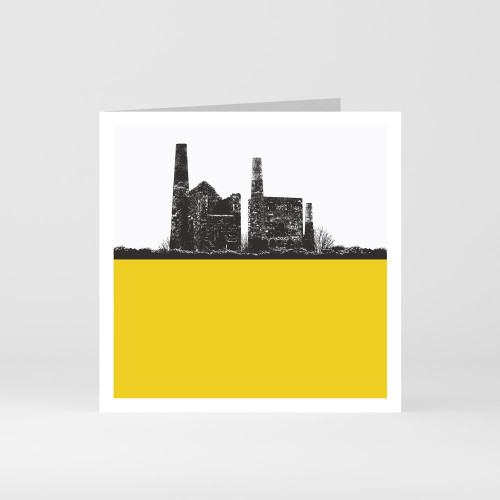 Jacky Al-Samarraie Cornwall Greeting Card of Tin Mine Wheal Peavor in Redruth