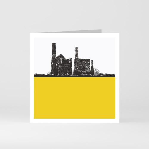 Jacky Al-Samarraie Cornwall Greeting Card of Tin Mine Wheal Peavor in Redruth