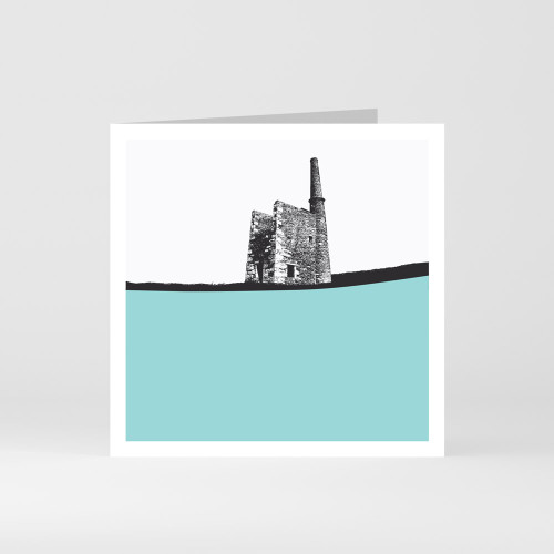 Jacky Al-Samarraie Cornwall Greeting Card of Tin Mine Wheal Prosper in South West Cornwall