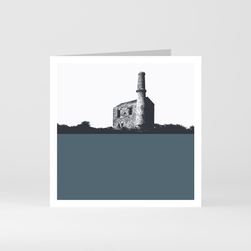 Jacky Al-Samarraie Cornwall Greeting Card of Prince of Wales Copper Mine, North Cornwall