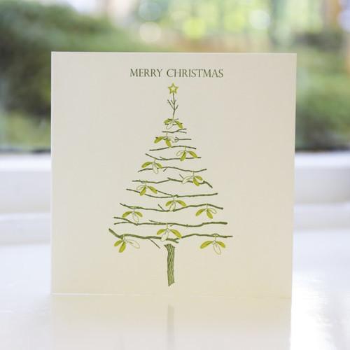 Jacky Al-Samarraie Mistletoe Tree Letterpress Christmas Card