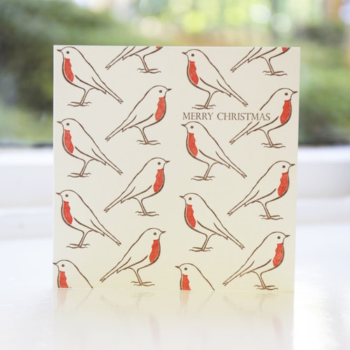 Jacky Al-Samarraie Robin Repeat Letterpress Christmas Card