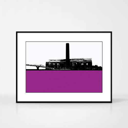 Print of the Tate Modern in London by designer Jacky Al-Samarraie.  Print colour is purple and the print shape is landscape.  Shown in frame for reference.