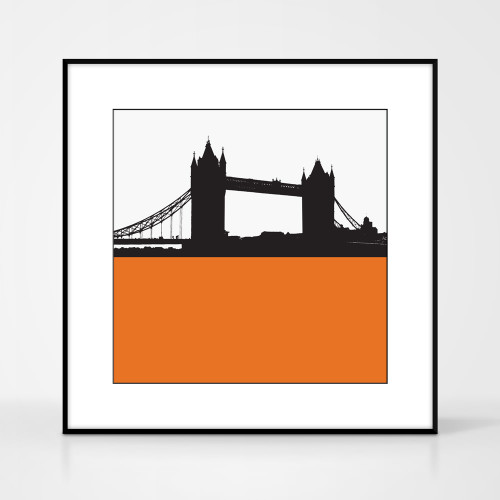 Art print of Tower Bridge in London by designer Jacky Al-Samarraie.  Print colour is orange and the print shape is square.  Shown in frame for reference.