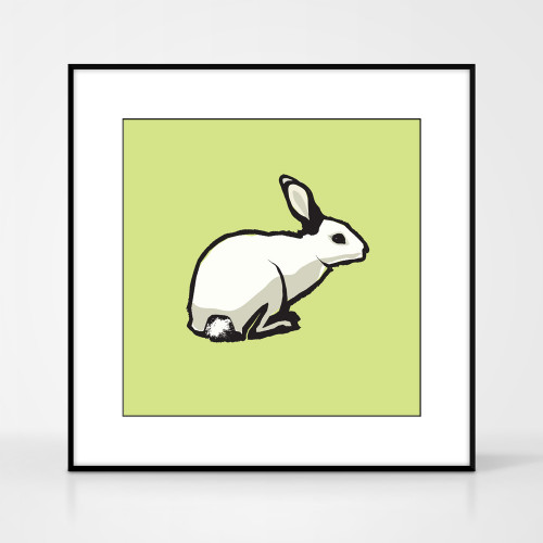 Graphic animal art print of a rabbit by designer Jacky Al-Samarraie.  The print comes mounted but is shown in a frame for reference.