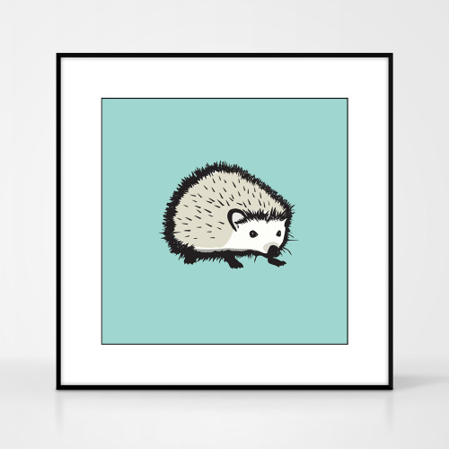 Graphic animal art print of a hedgehog by designer Jacky Al-Samarraie.  The print comes mounted but is shown in a frame for reference.