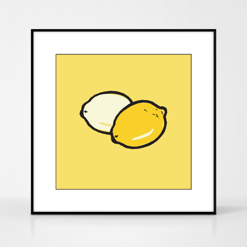 Graphic art print of lemons by designer Jacky Al-Samarraie.  The print comes mounted but is shown in a frame for reference.