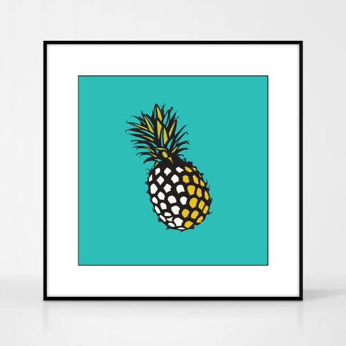 Graphic art print of pineapple by designer Jacky Al-Samarraie.  The print comes mounted but is shown in a frame for reference. It has a turquoise background colour.