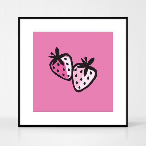 Graphic art print of strawberries by designer Jacky Al-Samarraie.  The print comes mounted but is shown in a frame for reference.