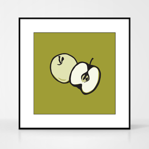 Graphic art print of green apple by designer Jacky Al-Samarraie.  The print comes mounted but is shown in a frame for reference.