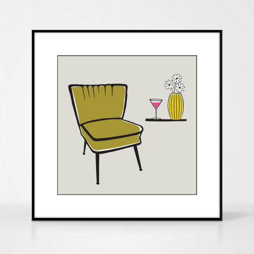 Graphic art print of vintage cocktail chair by designer Jacky Al-Samarraie.  The print comes mounted but is shown in a frame for reference.
