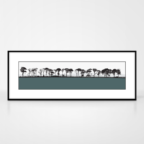 Landscape print of Northumberland countryside by designer Jacky Al-Samarraie.  The print colour is slate.  The print comes mounted but is shown in a frame for reference.
