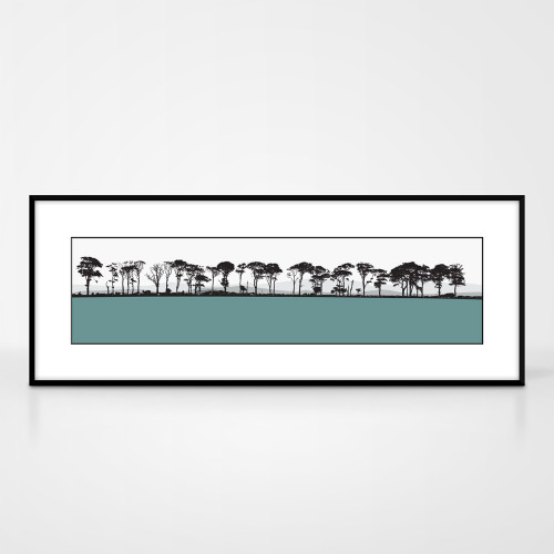 Landscape print of Northumberland countryside by designer Jacky Al-Samarraie.  The print colour is turquoise.  The print comes mounted but is shown in a frame for reference.