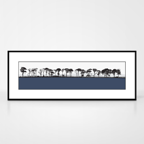 Landscape print of Northumberland countryside by designer Jacky Al-Samarraie.  The print colour is blue.  The print comes mounted but is shown in a frame for reference.