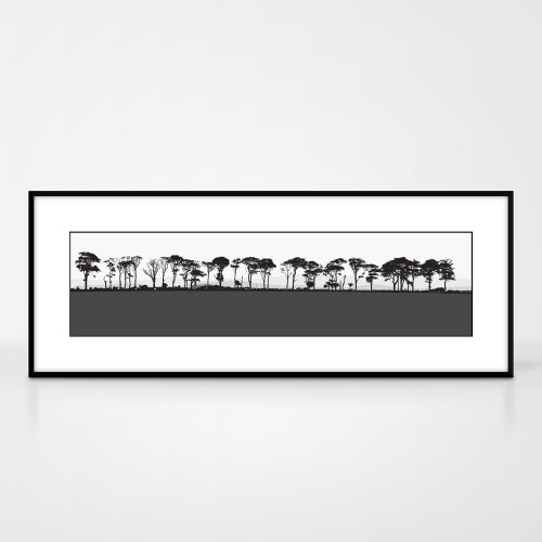 Landscape print of Northumberland countryside by designer Jacky Al-Samarraie.  The print colour is grey.  The print comes mounted but is shown in a frame for reference.