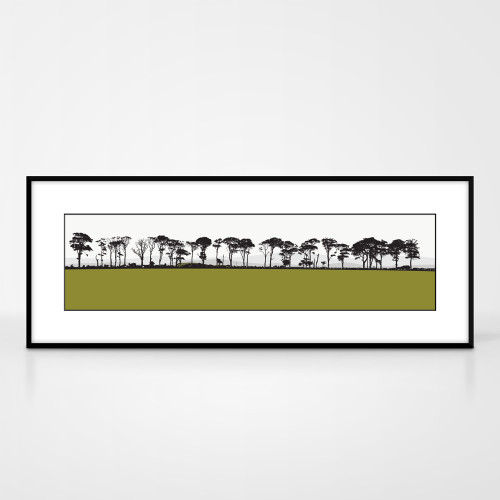Landscape print of Northumberland countryside by designer Jacky Al-Samarraie.  The print colour is green.  The print comes mounted but is shown in a frame for reference.