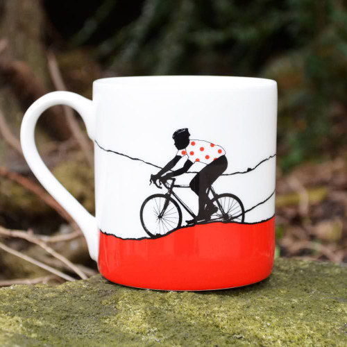 Red Polka Dot Bone China Mug