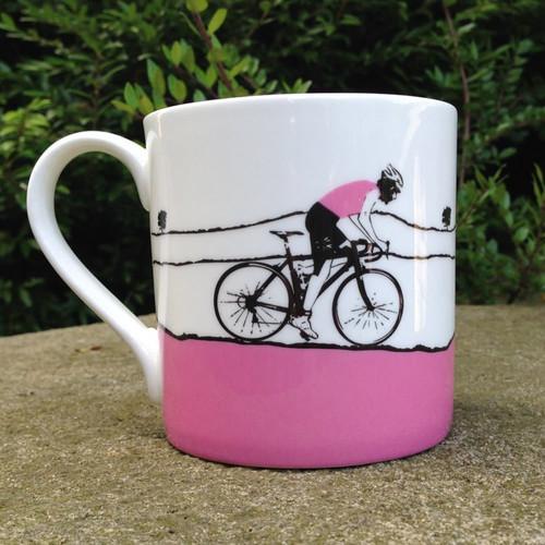 Pink Female Cyclist Bone China Mug