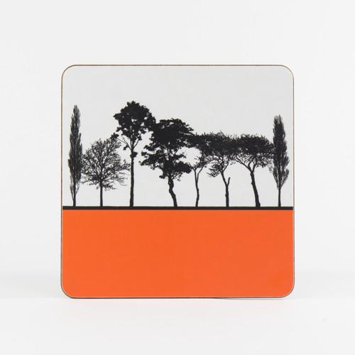 Orange British landscape table mat by designer Jacky Al-Samarraie