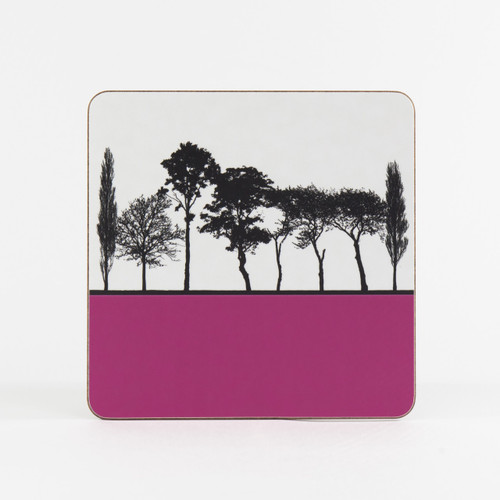 Pink British landscape table mat by designer Jacky Al-Samarraie