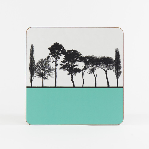 Turquoise British landscape table mat by designer Jacky Al-Samarraie