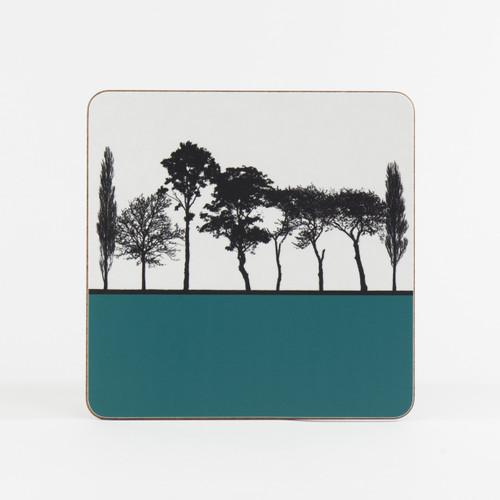 Teal British landscape table mat by designer Jacky Al-Samarraie