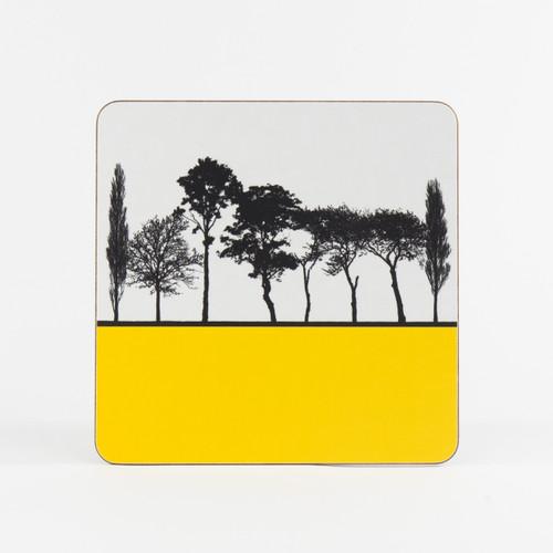Yellow British landscape table mat by designer Jacky Al-Samarraie