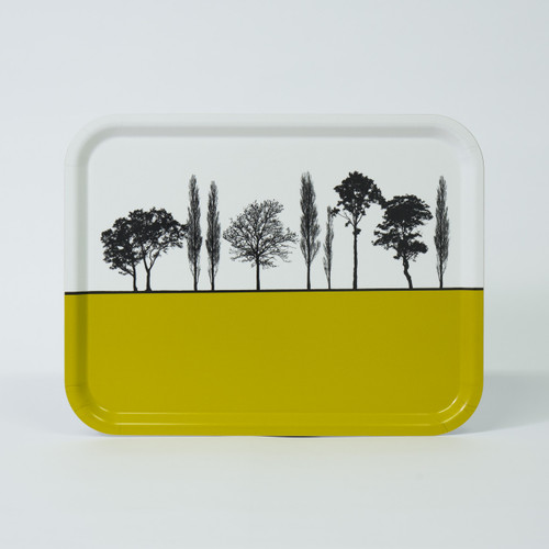 Mustard British landscape birch wood and melamine tray by designer Jacky Al-Samarraie