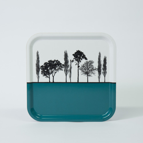 Teal British landscape birch wood and melamine tray by designer Jacky Al-Samarraie