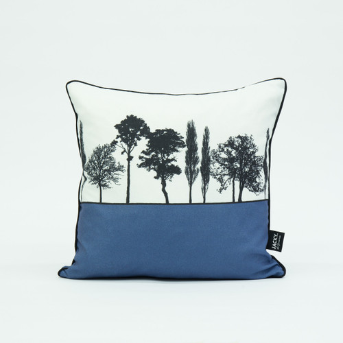 British landscape cushion in blue by designer Jacky Al-Samarraie