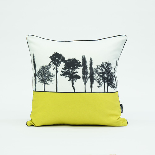 British landscape cushion in mustard by designer Jacky Al-Samarraie