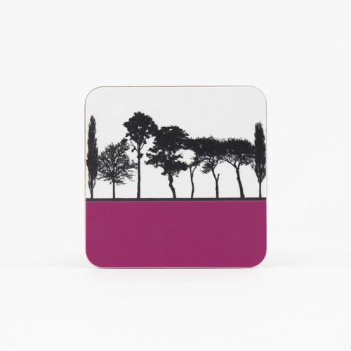 Pink British landscape coaster by designer Jacky Al-Samarraie