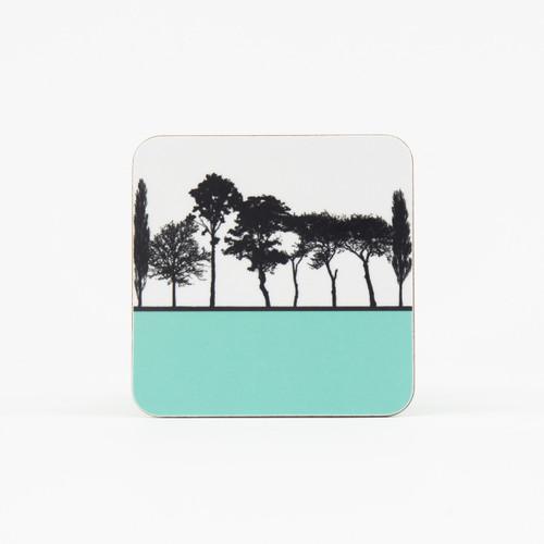 Turquoise British landscape coaster by designer Jacky Al-Samarraie