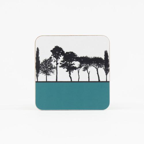 Teal British landscape coaster by designer Jacky Al-Samarraie