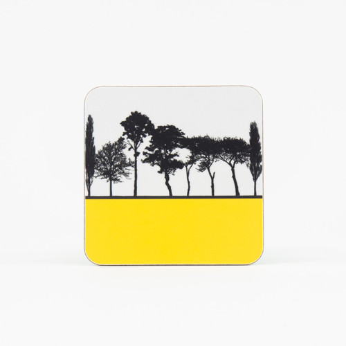Yellow British landscape coaster by designer Jacky Al-Samarraie
