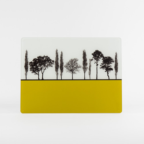 British landscape design mustard glass worktop saver by Jacky Al-Samarraie